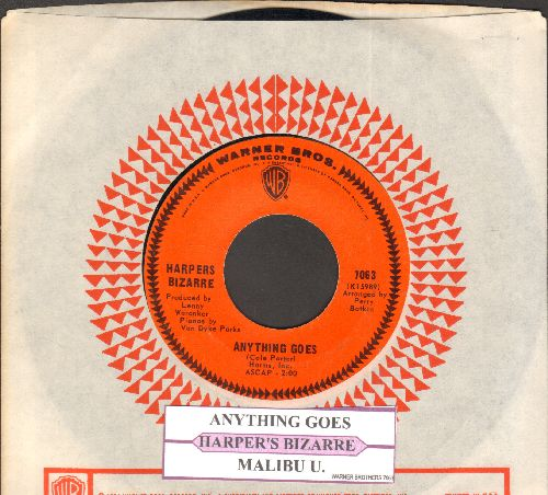 Harpers Bizarre - Anything Goes (FANTASTIC 60s Bubblegum-Version of the Cole Porter Standard)/Malibu U. (with juke box label and vintage Warner Brothers company sleeve) - NM9/ - 45 rpm Records