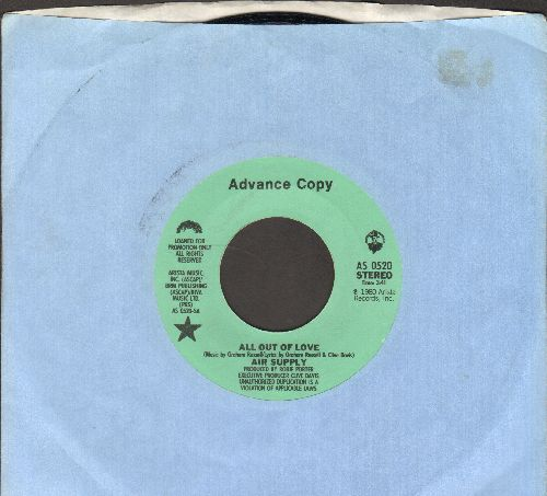 Air Supply - All Out Of Love  (RARE double-A-sided DJ advance pressing with Arista company sleeve) - NM9/ - 45 rpm Records