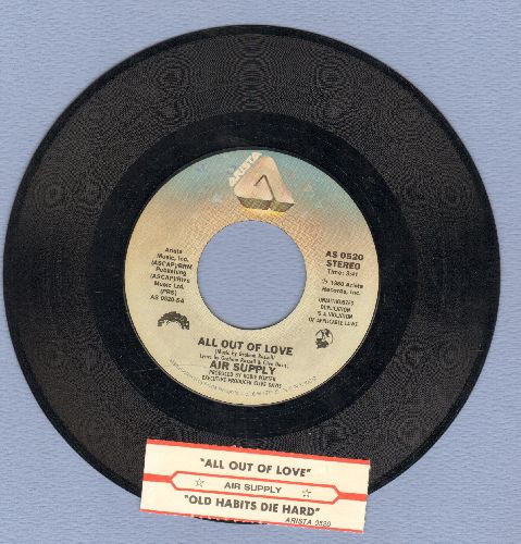 Air Supply - All Out Of Love/Old Habits Die Hard (with juke box label) - EX8/ - 45 rpm Records