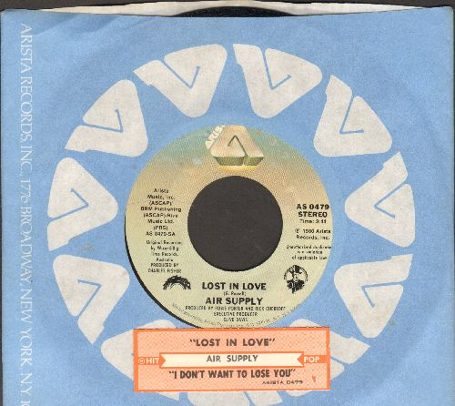 Air Supply - Lost In Love/I Don't Want To Lose You (with juke box label Arista company sleeve) - NM9/ - 45 rpm Records