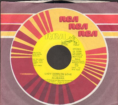 Alabama - Lady Down On Love (double-A-sided DJ advance pressing with RCA company sleeve) - NM9/ - 45 rpm Records