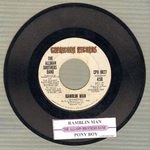 Allman Brothers - Ramblin Man/Pony Boy (with juke box label) - EX8/ - 45 rpm Records