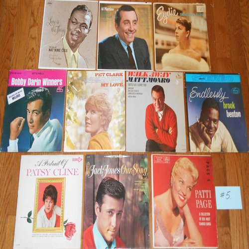 Original 1950s & 1960s LP Picture Covers - 10 Original LP picture covers SET 14-5 (exactly as pictured). NO records are included. GREAT for decorating a party room, or for a themed event. - VG6/EX8 - LP Records