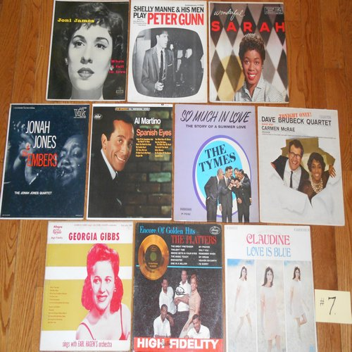 Original 1950s & 1960s LP Picture Covers - 10 Original LP picture covers SET 14-7 (exactly as pictured). NO records are included. GREAT for decorating a party room, or for a themed event. - VG6/EX8 - LP Records