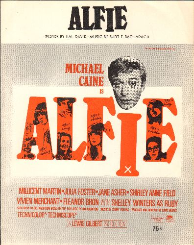 Caine, Michael - Alfie - Vintage SHEET MUSIC for the title song from film starring Michael Caine, most successfully recorded by Dionne Warwick. NICE cover art! - NM9/ - Sheet Music