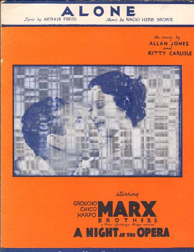 Jones, Allan & Jitty Carlisle - Alone - Vintage SHEET MUSIC  for the song featured in Marx Brothers film -A Night At The Opera- (BEAUTIFUL cover art featuring stars Kitty Carlsile and Allan Jones, suitable for framing!) - EX8/ - Sheet Music
