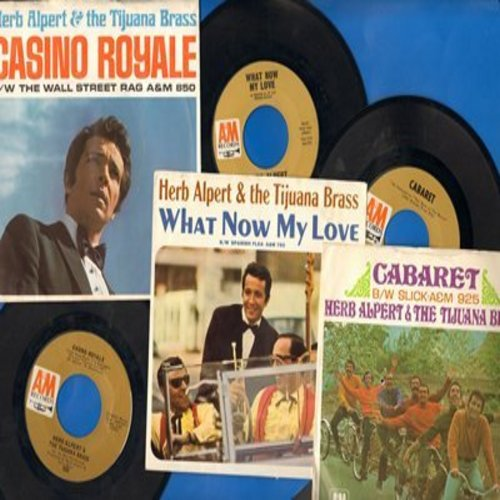 Alpert, Herb & The Tijuana Brass - Herb Alpert Picture Sleeve 3-Pack: Hits include What Now My Love/Casino Royale/Cabaret (first pressings in excellent condition!) - NM9/EX8 - 45 rpm Records