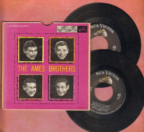 Ames Brothers - The Ames Brothers: Ol' Man River/The Anniversary Song, I Can't Give You Anything But Love + 5 (2 vinyl EP records in gate-fold cover) - EX8/EX8 - 45 rpm Records