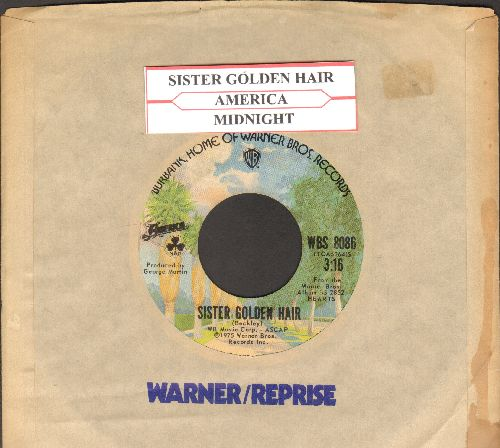 America - Sister Golden Hair/Midnight (with juke box label and  Warner Brothers company sleeve) - EX8/ - 45 rpm Records