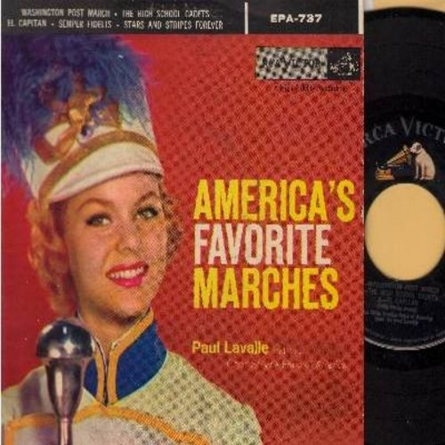Lavalle, Paul & The City Service Band of America - America's Favorite Marches: Washington Post March/The High School Cadets/El Capitan/Semper Fidelis/Stars And Stripes Forever (Vinyl EP record with picture cover) - EX8/VG7 - 45 rpm Records