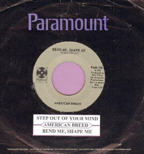 American Breed - Step Out Of My Mind/Bend Me, Shape Me (with juke box label ans Paramount company sleeve) - NM9/ - 45 rpm Records