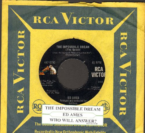 Ames, Ed - The Impossible Dream/Who Will Answer? (with RCA company sleeve and juke box label) - EX8/ - 45 rpm Records