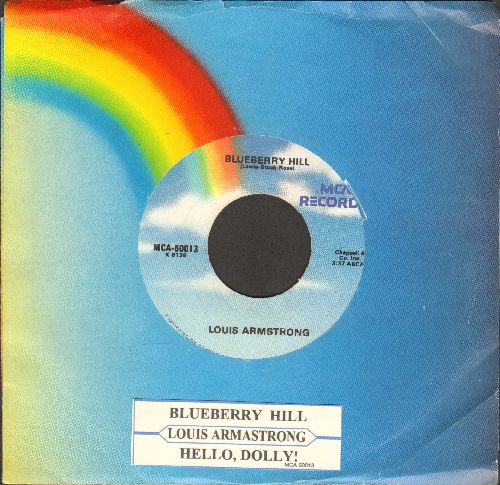 Armstrong, Louis - Bluberry Hill/Hello, Dolly! (double-hit re-issue with MCA company sleeve and juke box label) - EX8/ - 45 rpm Records
