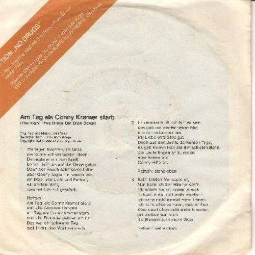 Werding, Juliane - Am Tag als Conny Kramer starb (to the tune of Joan Baez Classic -The Day They Drove Old Dixie Down (German Pressing with picture sleeve, song lyrics on back) - NM9/EX8 - 45 rpm Records