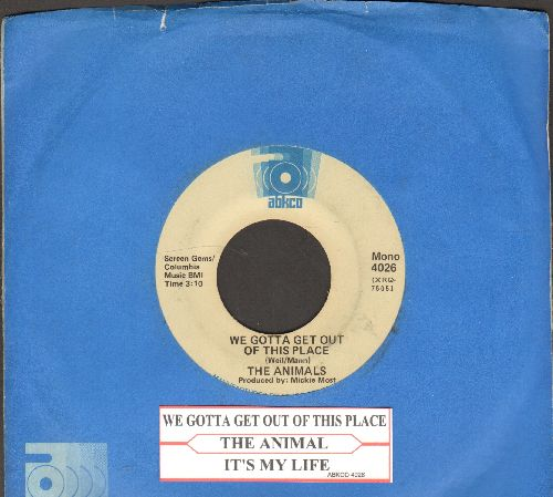 Animals - We Gotta Get Out Of This Place/It's My Life (double-hit re-issue with juke box label and company sleeve) - EX8/ - 45 rpm Records