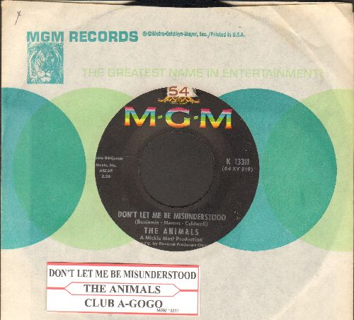 Animals - Don't Let Me Be Misunderstood/Club A-GoGo (with MGM company sleeve and juke box label) - VG7/ - 45 rpm Records