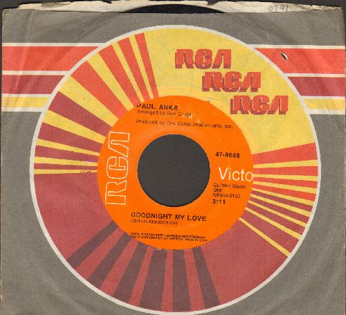 Anka, Paul - Goodnight My Love/This Crazy World (orange label 1970s pressing with RCA company sleeve) - NM9/ - 45 rpm Records