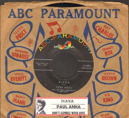Anka, Paul - Diana/Don't Gamble With Love (with company sleeve and juke box label) - EX8/ - 45 rpm Records
