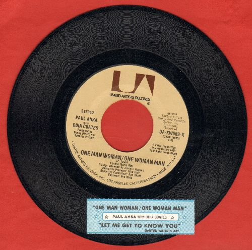 Anka, Paul & Odia Coates - One Man Woman/One Woman Man/Let Me Get To Know You (with juke box label) - NM9/ - 45 rpm Records