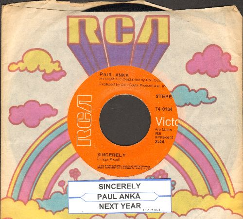 Anka, Paul - Sincerely/Next Year (with RCA company sleeve and juke box label) - EX8/ - 45 rpm Records