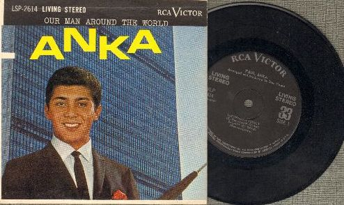 Anka, Paul - Our Man Around The World: Canadian Sunset/Lady Of Spain/Skokiaan/Brazil/Sayonara - RARE 33 rpm 7 inch STEREO record with picture cover. - VG7/NM9 - 45 rpm Records