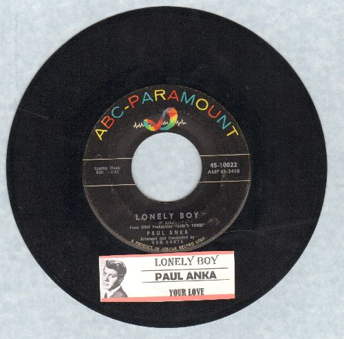 Anka, Paul - Lonely Boy/Your Love (with juke box label) - VG7/ - 45 rpm Records