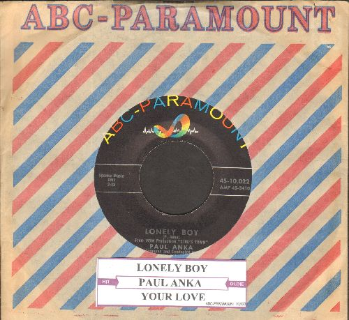 Anka, Paul - Lonely Boy/Your Love (with vintage juke box label and vintage ABC-Paramount company sleeve) - NM9/ - 45 rpm Records