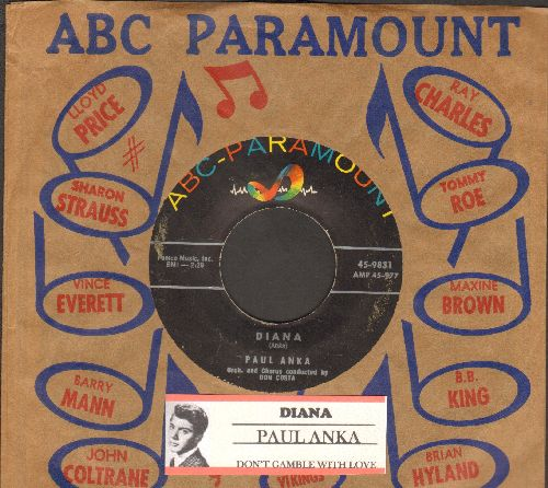 Anka, Paul - Diana/Don't Gamble With Love (with ABC-Paramount company sleeve and juke box label) - EX8/ - 45 rpm Records