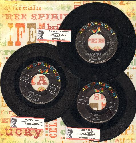 Anka, Paul - 3 Pack of first issue 45s with juke box labels. Hits include Diana, Puppy Love and I'd Have To Share. NICE set for a Juke Box or for a fan of the Teen Idol! - VG7/ - 45 rpm Records