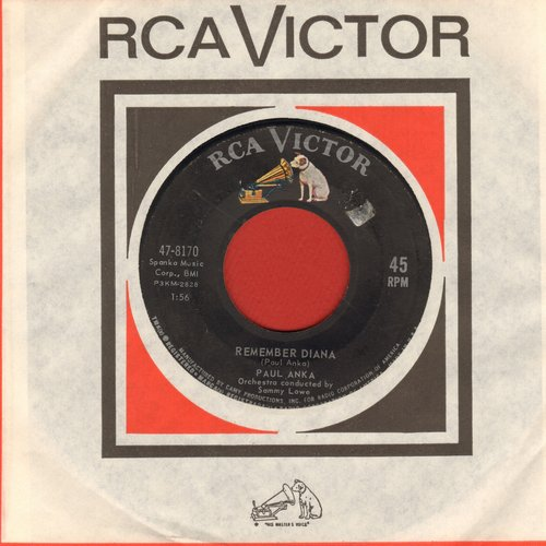 Anka, Paul - Remember Diana/At Night (with vintage RCA company sleeve) - VG7/ - 45 rpm Records