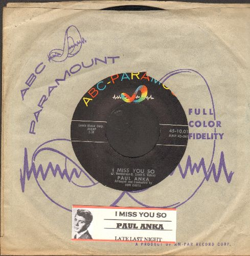 Anka, Paul - I Miss You So/Late Last Night (with RARE vintage ABC-Paramount company sleeve and juke box label) - M10/ - 45 rpm Records