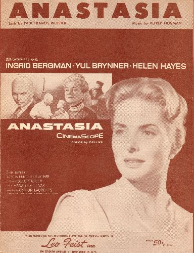 Bergman, Ingrid - Anastasia - SHEET MUSIC for the title song featured in film -Anastasia- (NICE cover portrait of star Ingrid Bergman!) - EX8/ - Sheet Music