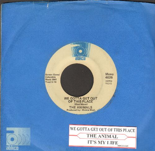 Animals - We Gotta Get Out Of Thi Place/It's My Life (double-hit reissue with Abkco company sleeve and juke box label) - VG7/ - 45 rpm Records