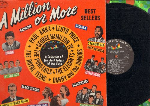 Danny & The Juniors, Paul Anka, Poni-Tails, others - A Million Or More: At The Hop, Diana, Little Star, Short Shorts, Born Too Late, Tequila (vinyl MONO LP record) - EX8/EX8 - LP Records