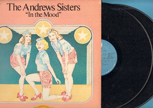 Andrews Sisters - In The Mood: Pennsylvania Polka, Boogie Woogie Bugle Boy, Three Little Fishies, Pistol Packin' Mama, Near You, Sabre Dance, Bei Mir Bist Du Shoen, Beer Barrel Polka (2 vinyl LP record set, gate-fold cover, re-issue of vintage recordings)