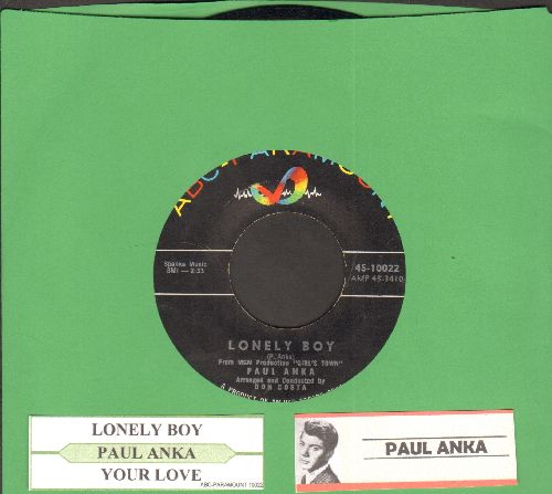 Anka, Paul - Lonely Boy/Your Love (with juke box label) - NM9/ - 45 rpm Records