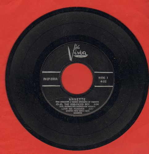 Annette - Jo-Jo The Dog-Faced Boy/Love Me Forever/My Heart Became Of Age/Lonely Guitar (RARE vinyl EP record with 4 tracks, no picture cover) - NM9/ - 45 rpm Records