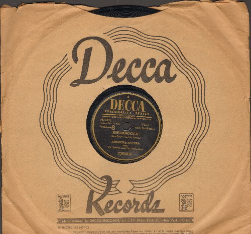 Andrews Sisters - Rhumboogie/In Apple Blossom Time (10 inch 78 rpm record with Decca Victor company sleeve) - VG7/ - 78 rpm