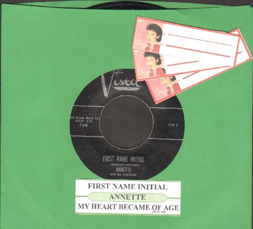 Annette - First Name Initial/My Heart Became Of Age (with juke box label) - NM9/ - 45 rpm Records