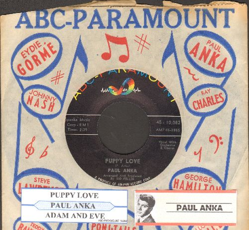 Anka, Paul - Puppy Love/Adam And Eve (with juke box label and ABC-Paramount company sleeve) - NM9/ - 45 rpm Records