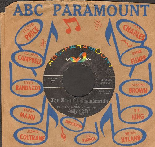 Anka, Paul, George Hamilton IV, Johnny Nash - The Teen Commandments/If You Learn To Pray (with vintage ABC-Paramount company sleeve) - EX8/ - 45 rpm Records