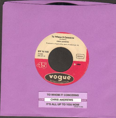 Andrews, Chris - Yesterday Man/Too Bad You Don't Want Me (German Pressing with juke box label) - EX8/ - 45 rpm Records