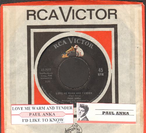 Anka, Paul - Love Me Warm And Tender/I'd Like To Know (with juke box label and company sleeve) - VG7/ - 45 rpm Records