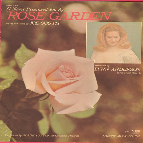 Anderson, Lynn - Rose Garden - SHEET Music for the Lynn Anderson Hit  (This is SHEET MUSIC, not any other kind of media!) - NM9/ - Sheet Music