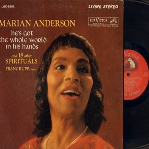 Anderson, Marian - He's Got The Whole World In His Hands and 18 other Spirituals, Franz Rupp, Piano (Vinyl STEREO LP record, gate-fold cover) - EX8/EX8 - LP Records