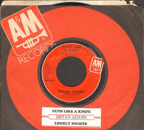 Adams, Bryan - Cuts Like A Knife/Lonely Nights (with juke box label and company sleeve) - NM9/ - 45 rpm Records