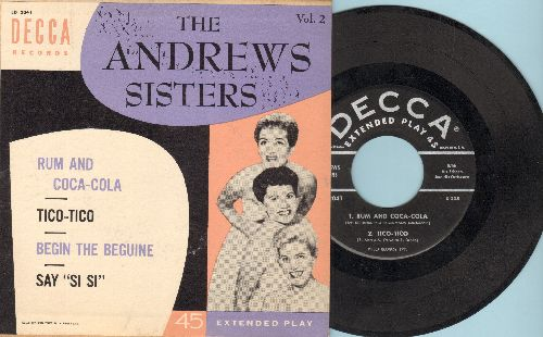 Andrews Sisters - Rum And Coca-Cola/Tico-Tico/Begin The Beguine/Say Si Si (vinyl EP record with picture cover) - NM9/EX8 - 45 rpm Records
