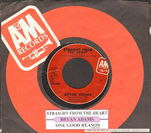 Adams, Bryan - Straight From The Heart/One Good Reason (with juke box label and company sleeve) - EX8/ - 45 rpm Records