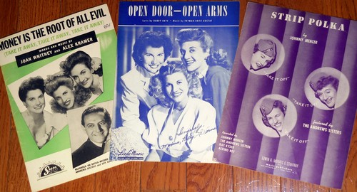 Andrews Sisters - Vintage SHEET MUSIC - Set of 3 (exactly as pictured!) by The Andrews Sisters. Originals from the 1940s and 50s. - EX8/ - 45 rpm Records