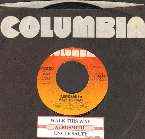 Aerosmith - Walk This Way/Uncle Salty (with juke box label and  company sleeve) - EX8/ - 45 rpm Records